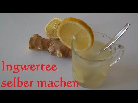 Ingwertee zubereiten - frischen Ingwertee mit Zitrone selber machen Ingwer tee abnehmen