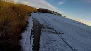 FPV flight over snow in Normandy