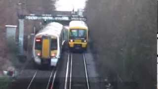 preview picture of video 'Class 465, 375 on the Falconwood incline 19 Jan 2014'