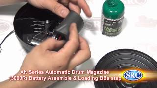 AK Series 6mm Airsoft Rifle Automatic Drum Magazine  3000R Battery Assemble & Loading BBs Step