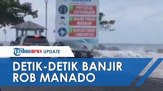 Detik-Detik Air Rob Terjang Mobil Innova di Manado, Nissan Juke Kejar-kejaran Coba Hindari Ombak