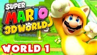 Super Mario 3D World - Walkthrough Part 1 - World 1 100% (Nintendo Wii U Gameplay)