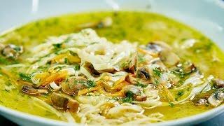 Любимые Рецепты.  Суп лапша с грибами.  С домашней лапшой суп получается особенно вкусный!