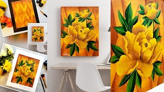 Step By Step Acrylic Painting For Beginners On Canvas | Art Ideas | Easy YELLOW Flower Painting