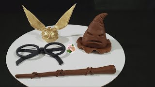 HARRY POTTER DECORACION/HARRY POTTER CAKE GOLDEN SNITCH,SORTING HAT,WANDS