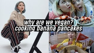 Why are We Vegan? Cooking Banana Oat Pancakes, Snacks from Qtees | DTV #86