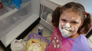 """Bad Baby Victoria Makes Mess Spatula Girl vs Spider Attack """"Toy Freaks"""""""