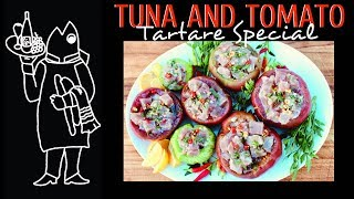 Easy Tuna Tartare Stuffed Inside Heirloom Tomatoes