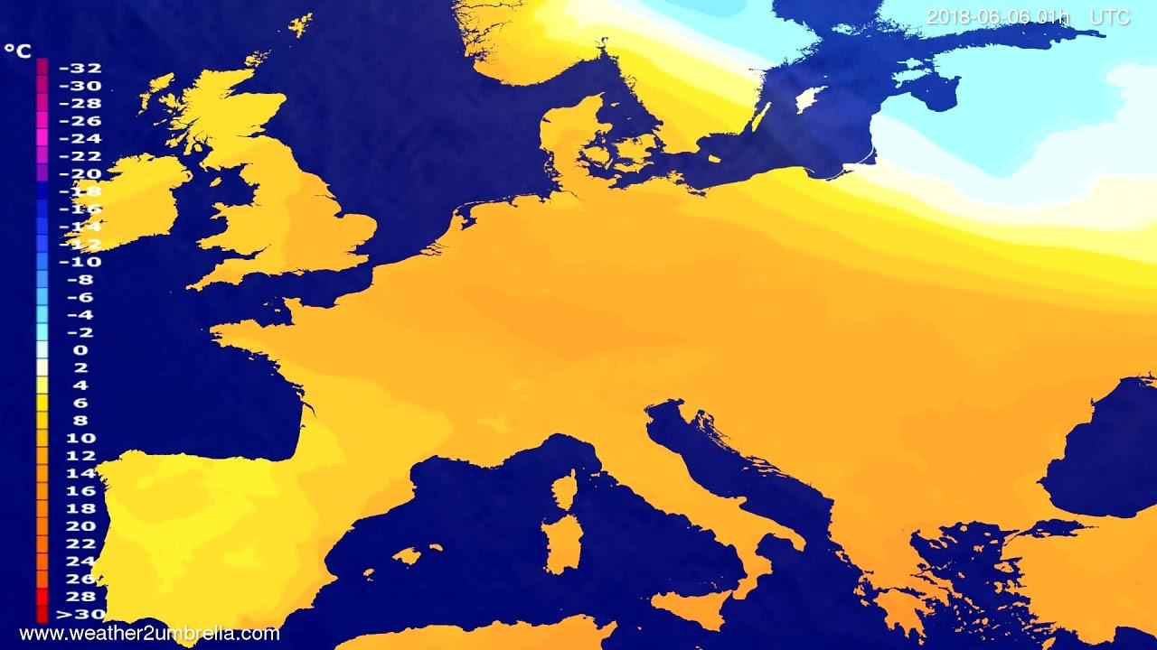 Temperature forecast Europe 2018-06-02