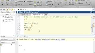 Creating Variables in Matlab