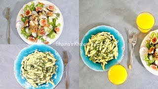 Summer Fig Walnut Salad with Creamy Spinach Alfredo Pasta Video Recipe | Bhavna's Kitchen