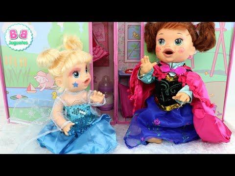 Disfraces de Elsa y Ana FROZEN para mis bebés Sara y Eva BABY ALIVE