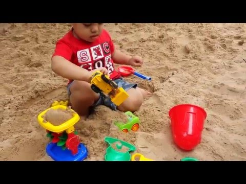 Playing Sand Pit w/ kids outdoor Toys Truck & Car