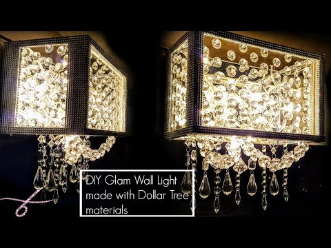 DIY Dollar Tree Wall Chandelier Lamp  Light – Glam Wall Sconce Light
