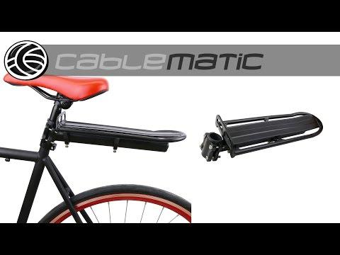 Portaequipajes metálico trasero para bicicleta fijación tubular distribuido por CABLEMATIC ®