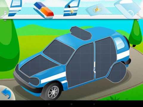 Машинки. Мультик собираем машинку полицейскую для детей 1-5 лет