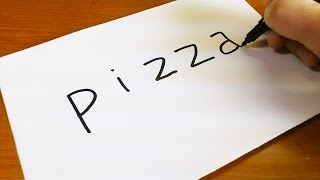 How to turn words PIZZA into a Cartoon -  Let's Learn drawing art on paper for kids