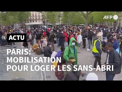À Paris, plus de 300 sans-abri réclament des logements   AFP À Paris, plus de 300 sans-abri réclament des logements   AFP