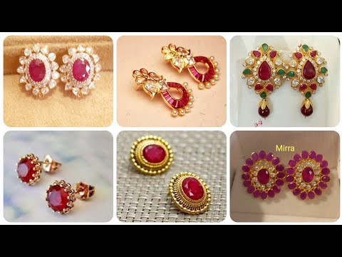 Outstanding And Latest Designer Ruby Stud Designs With Gold Ruby Sapphire And Emerald Stud Earrings