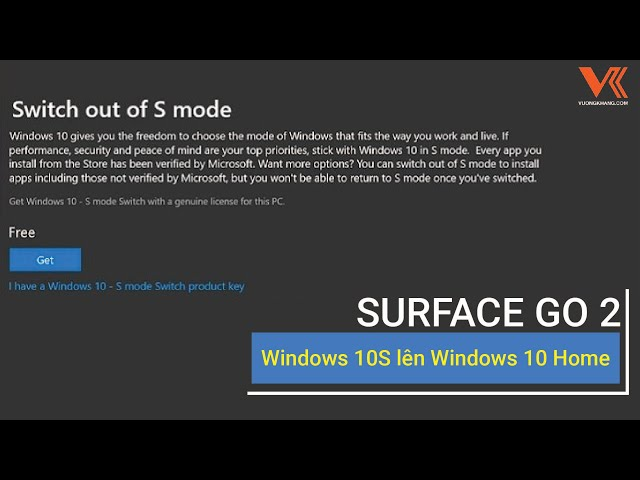 Update Windows 10S lên Windows 10 Home - SURFACE GO 2