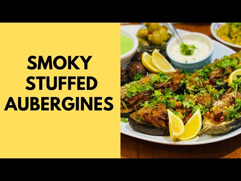 Smoky stuffed aubergines