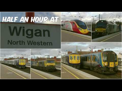 Half an hour at Wigan North Western Station featuring classe…