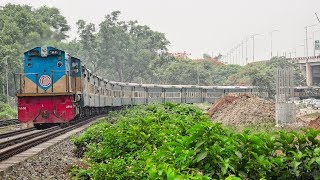 Brahmaputra Express Train on curve powered by BR EMD 2914 GT18LA-2 Locomotive