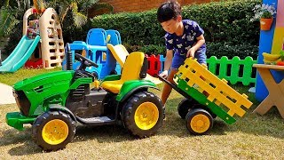 Tractor Power Wheels Car Toy Assembly with Fruit Toys Activity