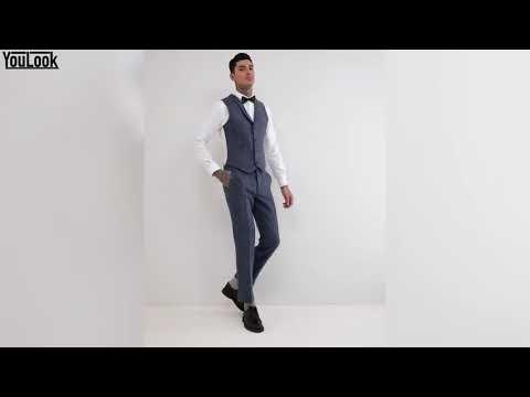 😈Schmal🔥 geschnittene, blau karierte Anzugweste aus 100% Wolle-Harris-Tweed