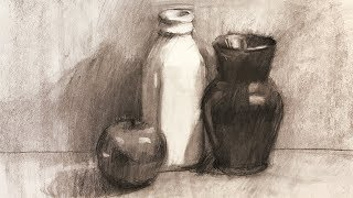 Still Life #102 - Local Colors In A Charcoal Drawing