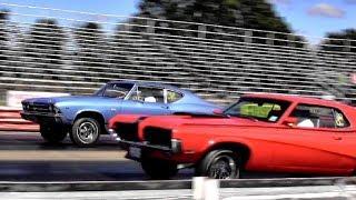428 Cobra Jet Cougar Eliminator vs Chevelle SS396 - 1/4 mile Drag Race Video - Road Test TV ®