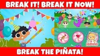 Break The Piñata | Hit It And Break The Piñata! | HiDino Kids Songs