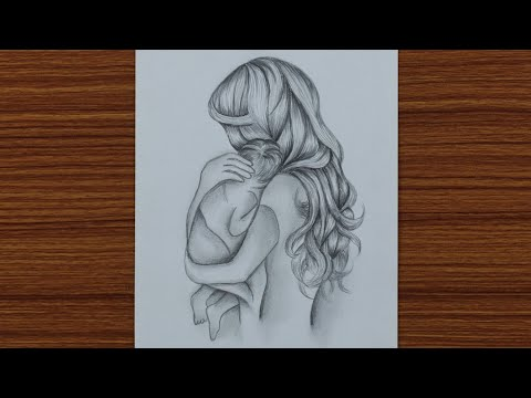 How to Draw Mother with Baby - Mother's Day Drawing - step by step