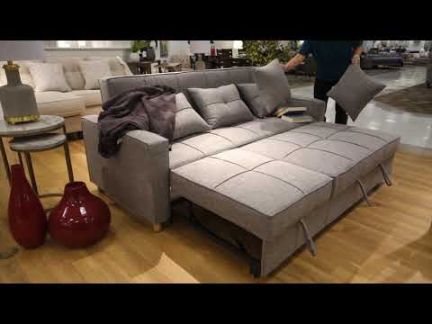 Loft Sofa Chaise With Sleeper Grey Fabric Accents @ Home Coquitlam greater vancouver