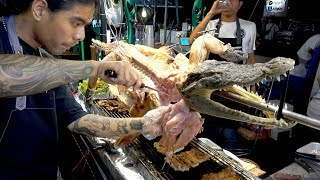 Thailand Street Food Grilled Crocodile Meat