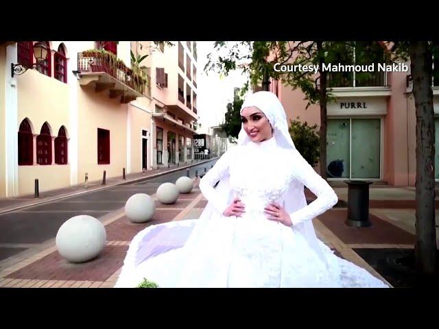 Sesión fotográfica de una novia capta la explosión en Beirut, Líbano