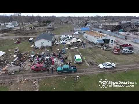 Drone footage released by the Illinois Dept. of Transportation shows the aftermath of rare December tornadoes that struck central Illinois, injuring at least 20 people. (Dec. 3)