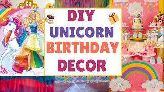 KIDS BIRTHDAY DECORATION IDEAS AT HOME | UNICORN THEME | EASY DIYS