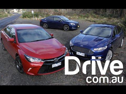 2015 Toyota Camry v Ford Mondeo v Subaru Liberty Comparison | Drive.com.au