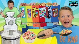 Giant Breakfast Cereal Fountain Fondue Mystery Candy Dispenser Game!!