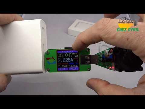 Test de la batterie de secours PowerBank XIAOMI 20000mAh QC3, 2 sorties USB jusqu\'à 18W