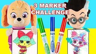 3 Marker Challenge with Paw Patrol Skye and PJ Masks Romeo - Ellie Sparkles