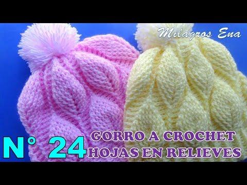 Gorro a crochet con hojas en relieves paso a paso INDICACIONES PARA  DIFERENTES EDADES 77cd1152ed3