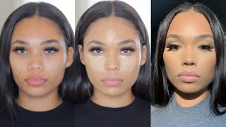 HOW TO CONTOUR & GET FLAWLESS SKIN WITH BREAKOUTS | MATTE MAKEUP ON DRY SKIN | Briana Monique'