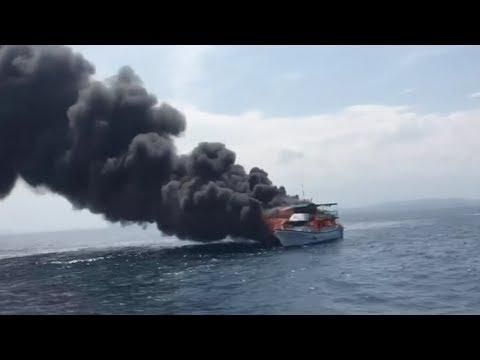 اشتعال النيران في قارب وإنقاذ 46 شخصا على متنه في تايوان