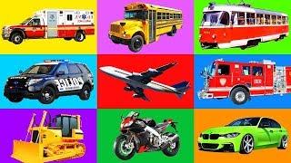 Мультики про Машинки для детей. изучаем Транспорт и звуки спецтехника Развивающее видео