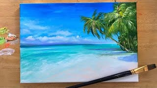 ACRYLIC PAINTING TUTORIAL | HOW TO PAINT A TROPICAL BEACH🌴 STEP By STEP🌴🎨