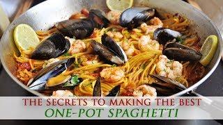 One-Pot Saffron Spaghetti with Shrimp & Mussels Recipe