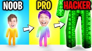 Can We Go NOOB vs PRO vs HACKER In GIANT RUSH!? (MAX LEVEL?!)