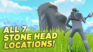 """ALL 7 STONE HEAD LOCATIONS! """"Visit Different Stone Heads"""" Fortnite Week 9 Season 5 Challenge Guide!"""